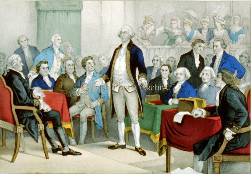 Washington, appointed Commander in Chief.  Currier & Ives print 1876. Print shows George Washington standing on a platform surrounded by members of the Continental Congress. In the background, women wave their handkerchiefs. lithograph, hand-collared.