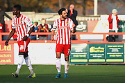Stevenage FC midfielder Chris Whelpdale celebrates scoring the equaliser during the Sky Bet League 2 match between Stevenage and Oxford United at the Lamex Stadium, Stevenage, England on 31 October 2015. Photo by Jemma Phillips.