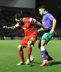 Bristol City's Derrick Williams nutmegs Leyton Orient's Chris Dagnall - Photo mandatory by-line: Dougie Allward/JMP - Mobile: 07966 386802 - 03/03/2015 - SPORT - football - Leyton - Brisbane Road - Leyton Orient v Bristol City - Sky Bet League One