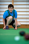 Chorzow, Poland - 2018 June 10: Special Olympics Athlete Magdalena Stalanowska throws ball in women's bocce competition during National Special Olympics Games 2018 at Slaski Stadium on June 10, 2018 in Chorzow, Poland.<br /> <br /> Adam Nurkiewicz declares that he has no rights to the image of people at the photographs of his authorship.<br /> <br /> Picture also available in RAW (NEF) or TIFF format on special request.<br /> <br /> Any editorial, commercial or promotional use requires written permission from the author of image.<br /> <br /> Image can be used in the press when the method of use and the signature does not hurt people on the picture.<br /> <br /> Mandatory credit:<br /> Photo by © Adam Nurkiewicz / Mediasport
