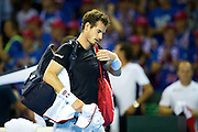 Andy Murray of Great Britain leaves court after losing in fives sets to Juan Martin del Potro of Argentina during the Davis Cup Semi Final between Great Britain and Argentina at the Emirates Arena, Glasgow, United Kingdom on 16 September 2016. Photo by Craig Doyle.