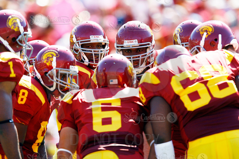 11 October 2008: NCAA Pac-10 USC Trojans 28-0 shut-out win over the Arizona State University Sun Devils during a day college football game at the Los Angeles Memorial Coliseum in Southern California. Trojans quarterback #6 Mark Sanchez in the huddle.