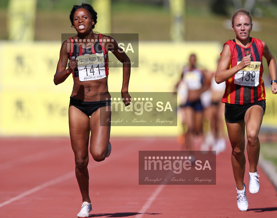 BELLVILLE, SOUTH AFRICA, Saturday 3 March 2012, Mapaseka Makhanya (14) and Maxine Heine-Wacker (139) in the women's 1500m  during the Yellow Pages Interprovincial held at Bellville Stadium stadium, outside Cape Town..Photo by ImageSA/ASA