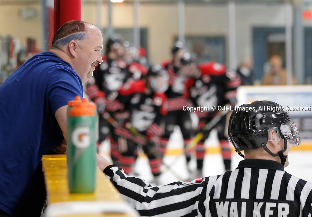 TRENTON, ON  - MAY 2,  2017: Canadian Junior Hockey League, Central Canadian Jr. &quot;A&quot; Championship. The Dudley Hewitt Cup. Around The Dudley Dryden GM Ice Dogs Staff <br /> (Photo by Amy Deroche / OJHL Images)