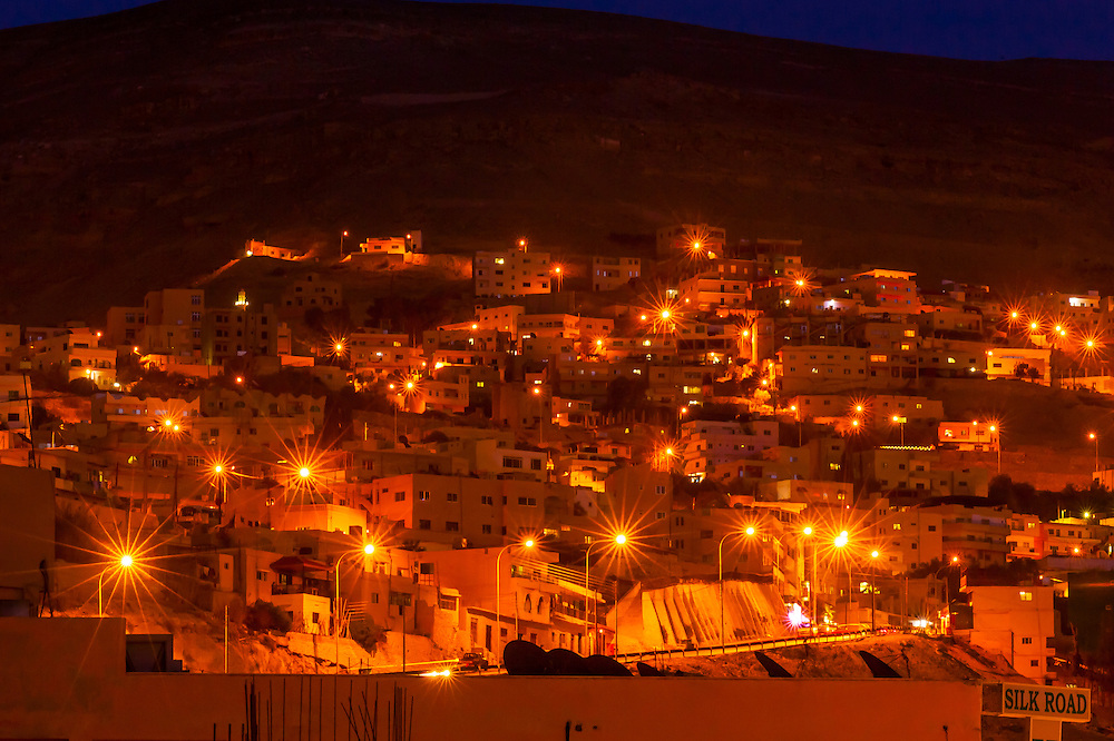 The city of Petra (Wadi Musa), Jordan at night.