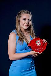 NEWPORT, WALES - Saturday, May 27, 2017: Charlie Short with her Under-16 Wales cap at the Celtic Manor Resort. (Pic by David Rawcliffe/Propaganda)