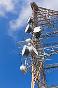 microwave antennas on television broadcast transmission tower on Mount Canobolas, Orange, New South Wales, Australia