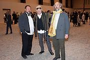 AI WEIWEI; JOHNNIE WALKER; STUART EVANS, Ai Weiwei Unilever series opening. Tate Modern. 11 October 2010. -DO NOT ARCHIVE-© Copyright Photograph by Dafydd Jones. 248 Clapham Rd. London SW9 0PZ. Tel 0207 820 0771. www.dafjones.com.