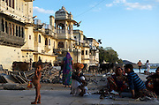 Gangaur Ghat, the city centre's main access point to Lake Pichola.