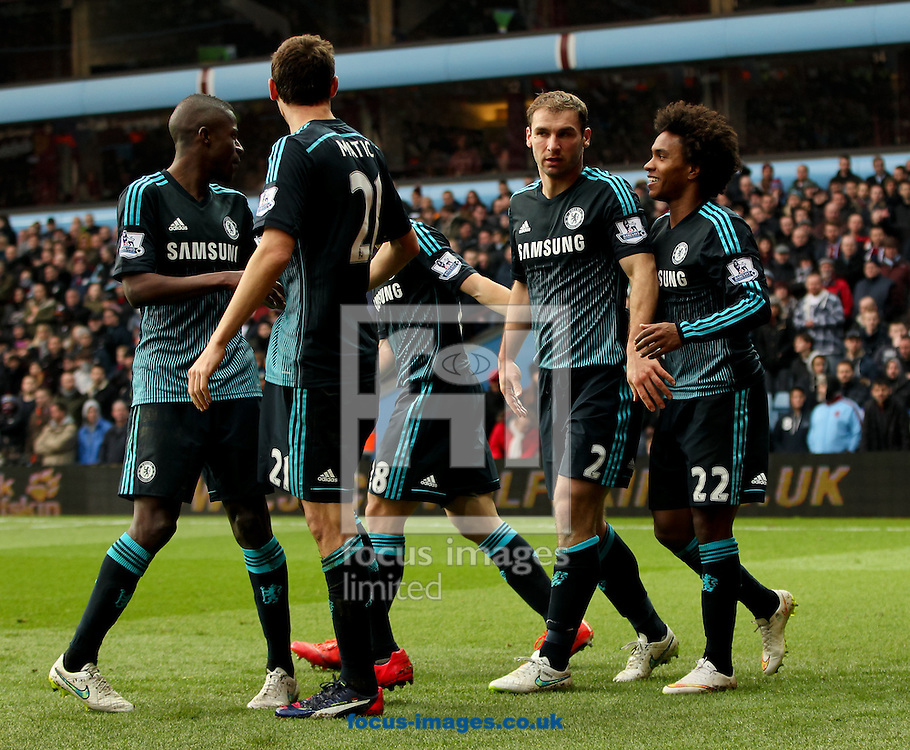 Branislav Ivanović (2nd right) of Chelsea celebrates scoring his sides second goal with his team mates during the Barclays Premier League match at Villa Park, Birmingham<br /> Picture by Tom Smith/Focus Images Ltd 07545141164<br /> 07/02/2015