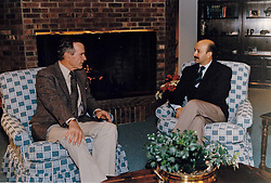 United States President George H.W. Bush meets with President Carlos Salinas of Mexico at Camp David, Maryland on December 14, 1991. Photo by Carol T. Powers / White House via CNP/ABACAPRESS.COM