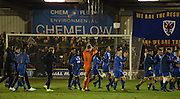 Wimbledon thank the fans after the FA Youth Cup match between U18 AFC Wimbledon and U18 Chelsea at the Cherry Red Records Stadium, Kingston, England on 9 February 2016. Photo by Michael Hulf.