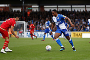 Bristol Rovers forward Victor Adeboyejo takes on George Williams (2) of Milton Keynes Dons during the EFL Sky Bet League 1 match between Bristol Rovers and Milton Keynes Dons at the Memorial Stadium, Bristol, England on 12 October 2019.