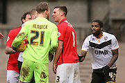 Altercation from Port Vale goalkeeper Jak Alnwick  and Coventry City defender Chris Stokes  during the Sky Bet League 1 match between Port Vale and Coventry City at Vale Park, Burslem, England on 7 February 2016. Photo by Simon Davies.
