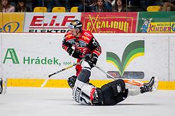22.10.2016, Ice Rink, Znojmo, CZE, EBEL, HC Orli Znojmo vs Dornbirner Eishockey Club, 13. Runde, im Bild v.l. Jiri Beroun (HC Orli Znojmo) <br /> Charlie Sarault (Dornbirner) // during the Erste Bank Icehockey League 13th round match between HC Orli Znojmo and Dornbirner Eishockey Club at the Ice Rink in Znojmo, Czech Republic on 2016/10/22. EXPA Pictures © 2016, PhotoCredit: EXPA/ Rostislav Pfeffer