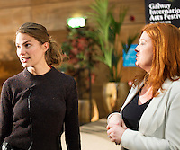 "Top US Model Cameron Russell with Bláthnaid Ní Chofaigh at the First Thoughts Talks  ""Looks Aren't  Everything"" in the Bailey Allen in NUI, Galway. Photo: Andrew Downes, Xposure."