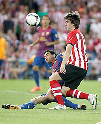 25.05.2012, Vicente Calderon Stadion, Madrid, ESP, Kings Cup Finale, FC Barcelona vs Athletic Bilbao, im Bild Athletic de Bilbao's Jon Aurtenetxe against Barcelona's Sergio Busquets // during the Spanish Kings Cup final match between Fc Barcelona and Athletic Bilbao at the Vicente Calderon Stadium, Madrid, Spain on 2012/05/25. EXPA Pictures © 2012, PhotoCredit: EXPA/ Alterphotos/ Alvaro Hernandez..***** ATTENTION - OUT OF ESP and SUI *****