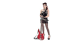 Beautiful young punk woman standing with guitar over white background