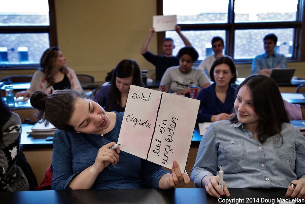 Students in Anita Toronyi's University of Windsor Depatment of Languages German class are  interactive with high energy.