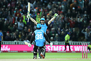 Worcestershire Rapids Ed Barnard congratulates Worcestershire Rapids Ben Cox who hit the winning run during the final of the Vitality T20 Finals Day 2018 match between Worcestershire rapids and Sussex Sharks at Edgbaston, Birmingham, United Kingdom on 15 September 2018.