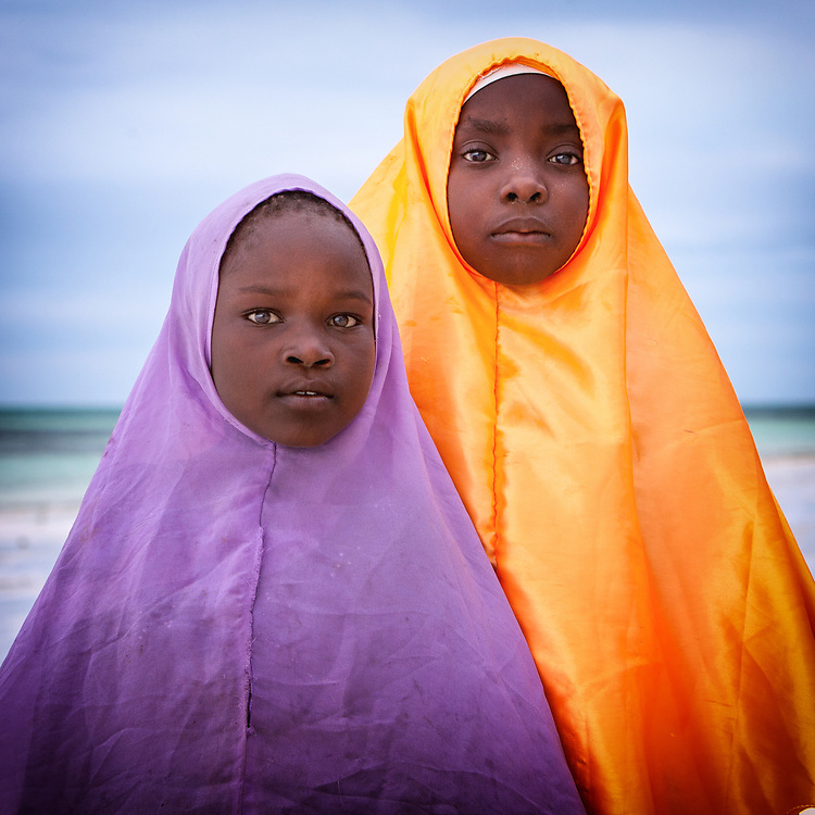 Girls wearing hijab in Zanzibar
