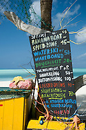 A colourful watersports kiosk on the beach at Jolly Bay, Antigua, The West Indies