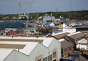Port and docks at Falmouth, Cornwall, England, UK