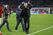 Manchester United interim Manager Ole Gunnar Solskjaer applauds the fans and gestures after the Premier League match between Cardiff City and Manchester United at the Cardiff City Stadium, Cardiff, Wales on 22 December 2018.