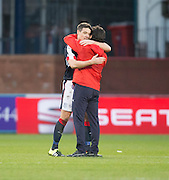 Dundee manager Paul Hartley hugs Darren O&rsquo;Dea at the end - Dundee v Rangers in the Ladbrokes Scottish Premiership at Dens Park, Dundee.Photo: David Young<br /> <br />  - &copy; David Young - www.davidyoungphoto.co.uk - email: davidyoungphoto@gmail.com