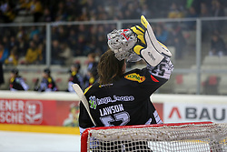 30.01.2015, Albert Schultz Eishalle, Wien, AUT, EBEL, UPC Vienna Capitals vs Dornbirner Eishockey Club, 43. Runde, im Bild Nathan Lawson (Dornbirner Eishockey Club) // during the Erste Bank Icehockey League 43th round match between UPC Vienna Capitals and Dornbirner Eishockey Club at the Albert Schultz Ice Arena in Vienna, Austria on 2015/01/30. EXPA Pictures © 2015, PhotoCredit: EXPA/ Alexander Forst