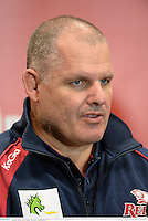 7 June 2013; Queensland Reds head coach Ewen McKenzie during a press conference ahead of their game against British & Irish Lions on Saturday. British & Irish Lions Tour 2013, Press Conference, Suncorp Stadium, Brisbane, Queensland, Australia. Picture credit: Stephen McCarthy / SPORTSFILE