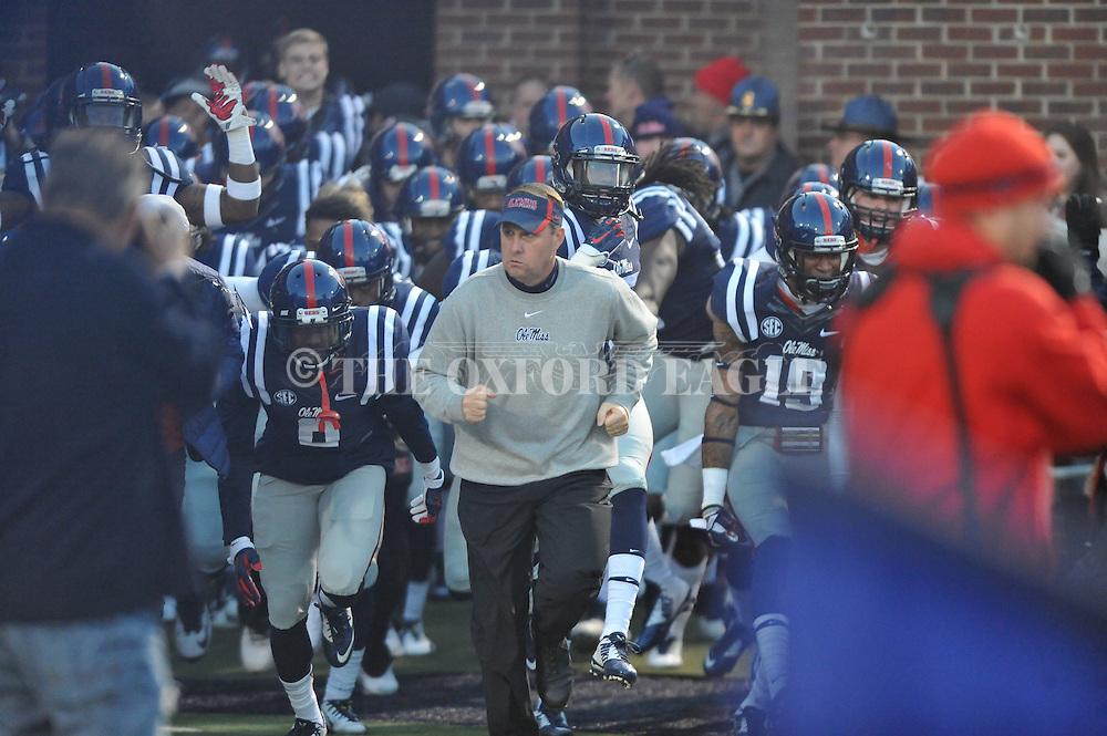 Ole Miss' head coach Hugh Freeze vs. Auburn at Vaught-Hemingway Stadium in Oxford, Miss. on Saturday, November 1, 2014. (AP Photo/Oxford Eagle, Bruce Newman)