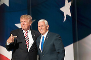 July 20, 2016 - Cleveland, Ohio: After Mike Pence's speech Donald Trump came out and stood with him at center stage.