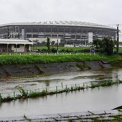 Heavy rain ahead of the arrival of Typhoon Hagibis, which led to the cancellationon of the France v England match, causes the river that runs past the stadium to burst its banks on October 12, 2019 in Yokohama, Japan. (Photo by Dave Winter/Icon Sport) - --- - International Stadium Yokohama - Yokohama (Japon)
