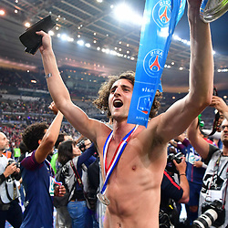 Adrien Rabiot of PSG celebrates winning the French Cup Final between Les Herbiers and Paris Saint Germain at Stade de France on May 8, 2018 in Paris, France. (Photo by Dave Winter/Icon Sport)