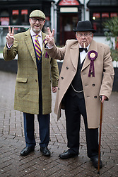 © Licensed to London News Pictures . 28/01/2017 . Stoke-on-Trent , UK . PAUL NUTTALL and Winston Churchill impersonator pose . UKIP formally launch their campaign in the by-election in the constituency of Stoke-on-Trent Central , at their new campaign shop at 1 Piccadilly in Stoke , with candidate - and party leader - Paul Nuttall . The seat was vacated when Tristram Hunt resigned . Photo credit : Joel Goodman/LNP