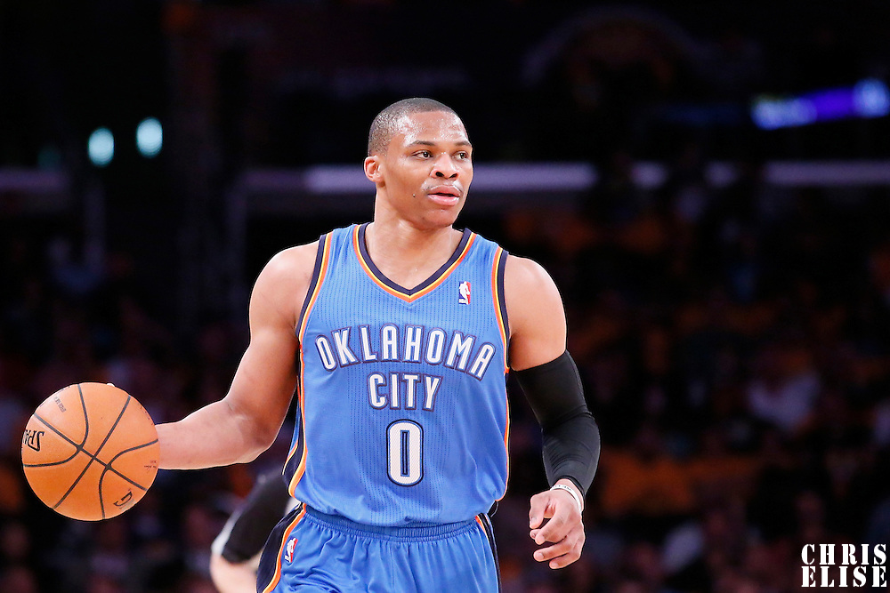 09 March 2014: Oklahoma City Thunder point guard Russell Westbrook (0) brings the ball up court during the Los Angeles Lakers 114-110 victory over the Oklahoma City Thunder at the Staples Center, Los Angeles, California, USA.