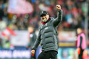 Liverpool Head Coach Jürgen Klopp celebrates at full time during the Champions League match between FC Red Bull Salzburg and Liverpool at the Red Bull Arena, Salzburg, Austria on 10 December 2019.