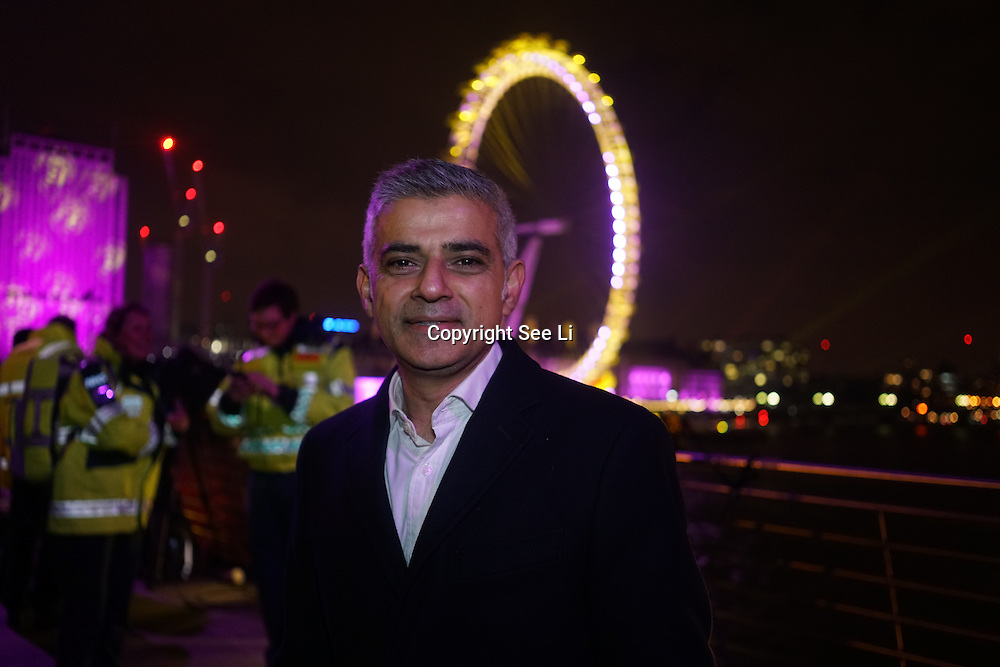London Mayor Sadiq Khan see in the new year at the annual fireworks display on the River Thames,UK. Photo  by See Li