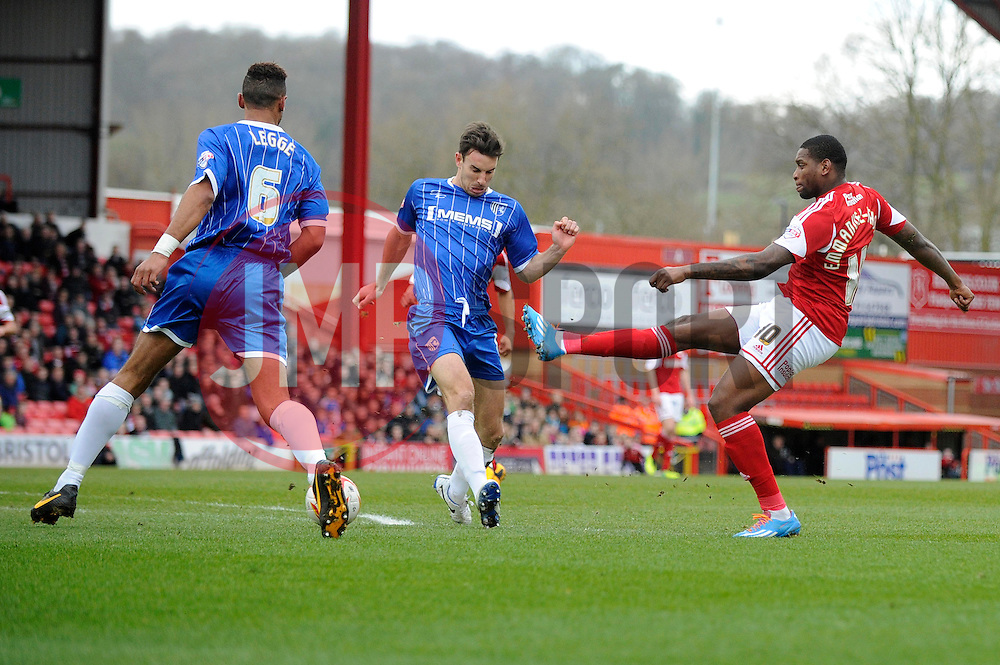 Bristol City's Jay Emmanuel-Thomas takes a shot at goal. - Photo mandatory by-line: Dougie Allward/JMP - Tel: Mobile: 07966 386802 01/03/2014 - SPORT - FOOTBALL - Bristol - Ashton Gate - Bristol City v Gillingham - Sky Bet League One