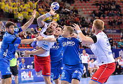 Horak of Meshkov Brest  during handball match between Meshkov Brest and RK Celje Pivovarna Lasko in bronze medal match of SEHA- Gazprom League Final 4, on April 15, 2018 in Skopje, Macedonia. Photo by  Sportida