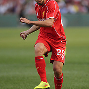 Fabio Borini, Liverpool, in action during the Liverpool Vs AS Roma friendly pre season football match at Fenway Park, Boston. USA. 23rd July 2014. Photo Tim Clayton