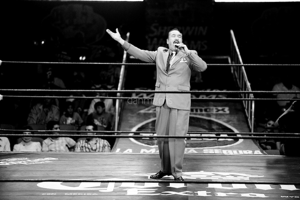 Announcer heralds the start of the Luchador match, Mexico City, Mexico