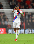 Patrick van Aanholt (3) of Crystal Palace celebrates scoring the equalising goal to make the score 1-1 during the Premier League match between Bournemouth and Crystal Palace at the Vitality Stadium, Bournemouth, England on 1 October 2018.