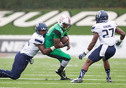 Oct 3, 2015; Huntington, WV, USA; Marshall Thundering Herd running back Keion Davis catches a pass during the first quarter against the Old Dominion Monarchs at Joan C. Edwards Stadium. Mandatory Credit: Ben Queen-USA TODAY Sports