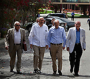 Egyptian Nobel Peace laureate and former UN atomic watchdog chief, Mohamed ElBaradei (2nd from left) leaves the Ghoneim Urology and Nephrology hospital during a visit to the  Egyptian Nile delta town of El Mansoura April 2, 2010. ElBaradei is thought to be a possible candidate to run against Egyptian President Hosni Mubarak in the 2011 presidential election, although he has not made a formal declaration as of yet.