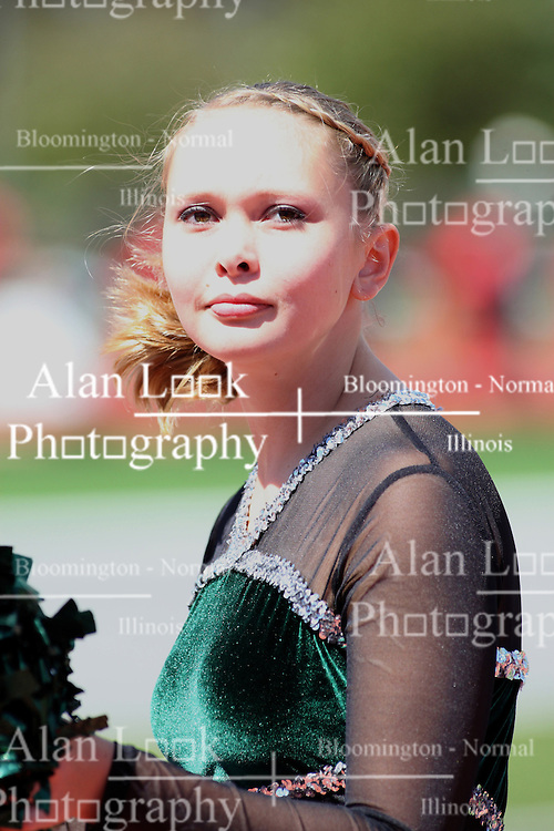 08 September 2012:  A Titan pom pom and dance girl performs during an NCAA division 3 football game between the Alma Scots and the Illinois Wesleyan Titans which the Titans won 53 - 7 in Tucci Stadium on Wilder Field, Bloomington IL