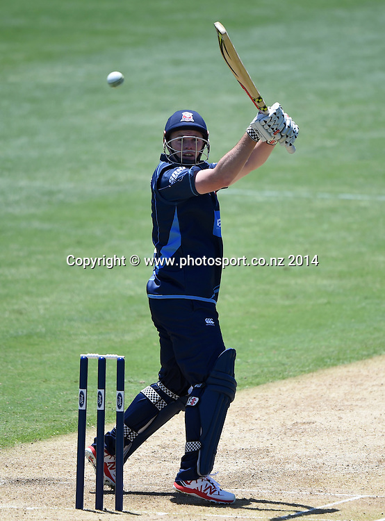 Auckland's Colin Munro during the Ford Trophy one day cricket match between Auckland Aces and Wellington Firebirds at the Eden Park Outer Oval, Auckland, New Zealand. Saturday 27 December 2014. Photo: Andrew Cornaga/www.Photosport.co.nz