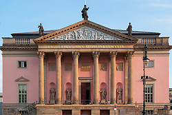 Exterior facade of renovated Staatsoper opera House on Under den Linden in Mitte, Berlin, Germany