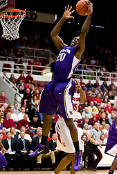 February 13, 2010; Stanford, CA, USA;  Washington Huskies forward Quincy Pondexter (20) grabs a rebound during the first half against the Stanford Cardinal at Maples Pavilion. Washington defeated Stanford 78-61.